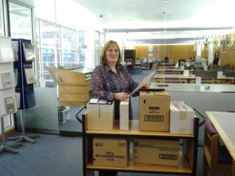 Jane Reas, a volunteer with the W.R. Mitchell Archive, at Leeds University Special Collections in 2012, © Settle Stories.