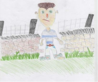 Joanna Wilson's drawing of a dry stone waller